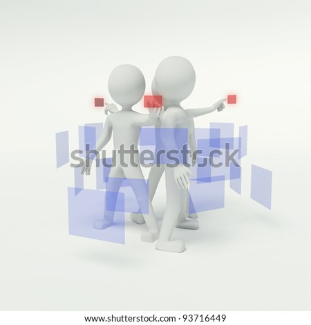 3d people working in the group and pressing buttons on the virtual background
