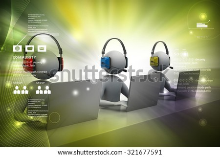 3d peoples are in color background - stock photo