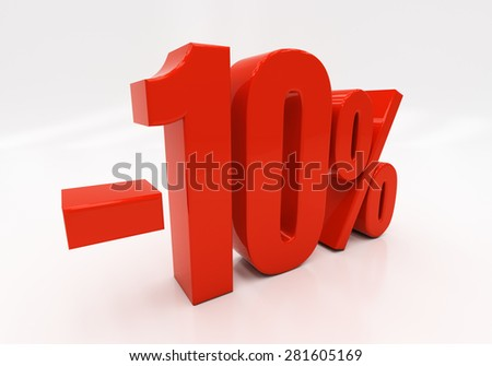 3D, 10 percent - stock photo