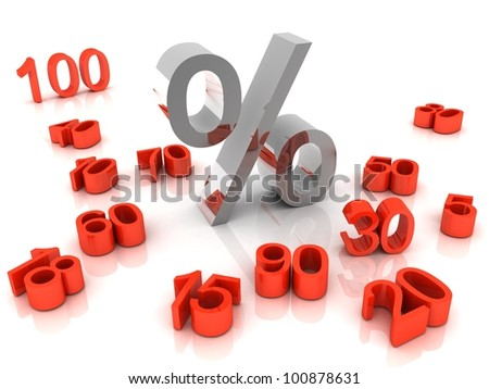 3D percent numbers on white background - stock photo