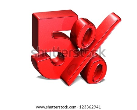 3D 5 Percent on white background - stock photo