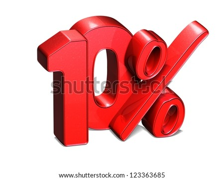 3D 10 Percent on white background - stock photo