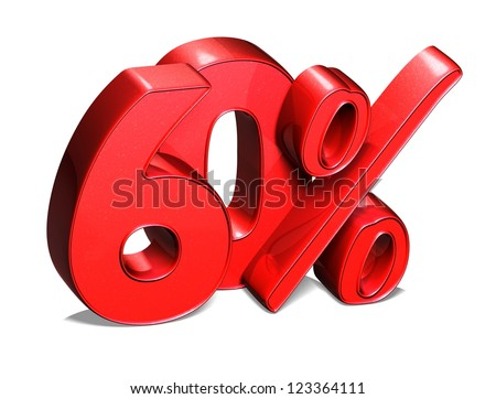 3D 60 Percent on white background - stock photo