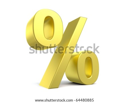 3d percent sign from my golden collection - stock photo