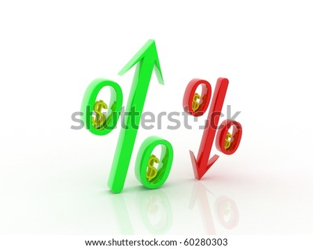 3d Percentage and arrow with dollar in isolated background - stock photo