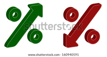 3D percentage symbol with up and down arrow - stock photo
