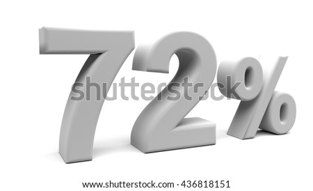 3D percents text, with big fonts isolated on white background. 3D rendering.