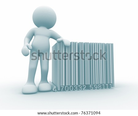 3d person and barcode ( bar code) -  This is a 3d render illustration - stock photo