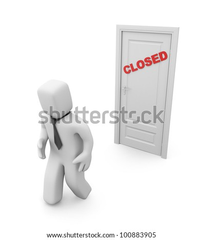 3d person and closed door. Image contain clipping path