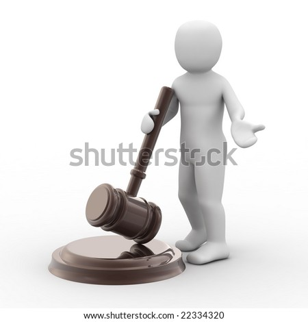 3d person and gavel on white background