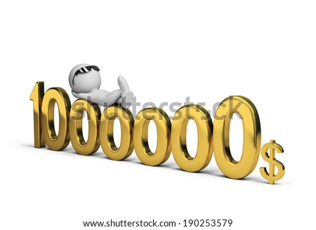 3d person and one million dollars. 3d image. White background. - stock photo