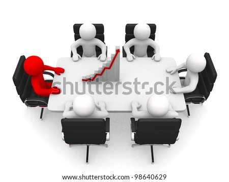 3d person at a conference table. Leadership and team. 3d render illustration - stock photo