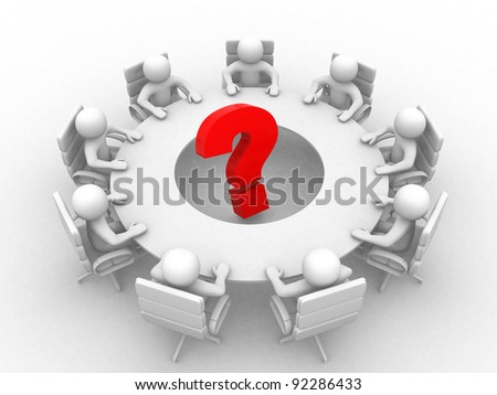 3d person at conference table and question mark- This is a 3d render illustration