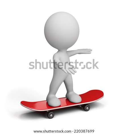 3d person balancing on skateboard. 3d image. White background. - stock photo