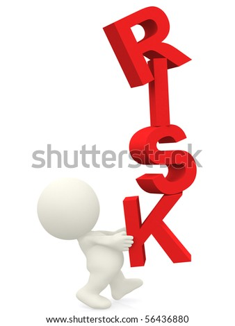 3D person balancing the word risk - isolated over a white background - stock photo