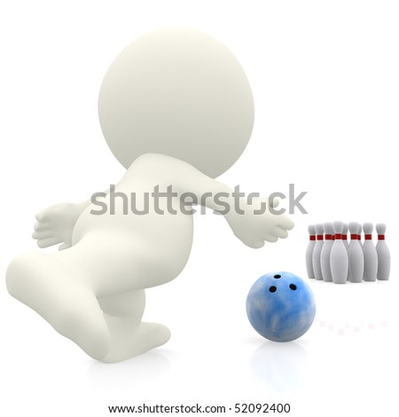 3D person bowling isolated over a white background - stock photo