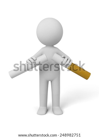 3d person breaking a cigarette. 3d image. Isolated white background. - stock photo