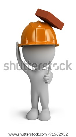 3d person - builder man in a helmet with a falling brick from the top. 3d image. Isolated white background. - stock photo
