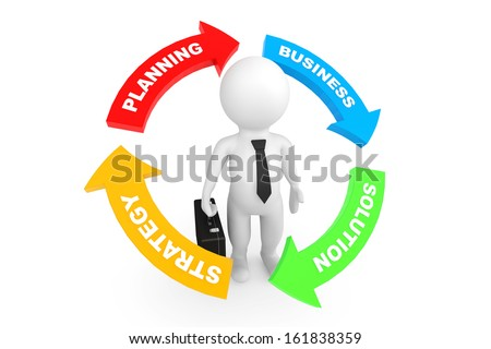 3d person businessman with business conceptual arrows on a white background - stock photo