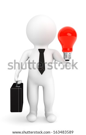 3d person businessman with idea bulb over hand on a white background