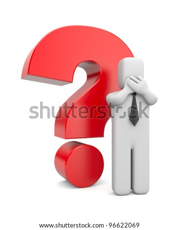 3d person businessman with red question mark. Image contain clipping path
