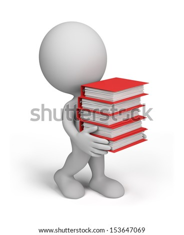 3d person carries a large stack of documents. 3D image. White background. - stock photo
