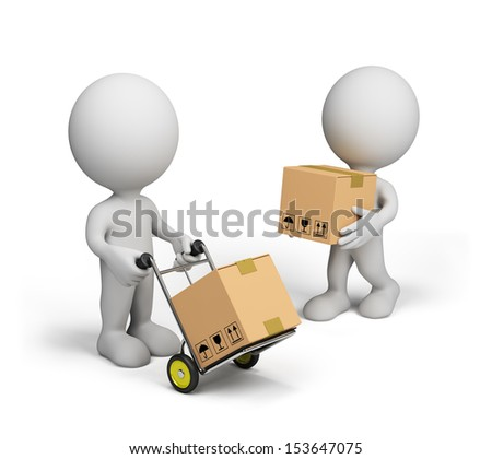 3D person carries boxes on a trolley. 3D image. White background. - stock photo