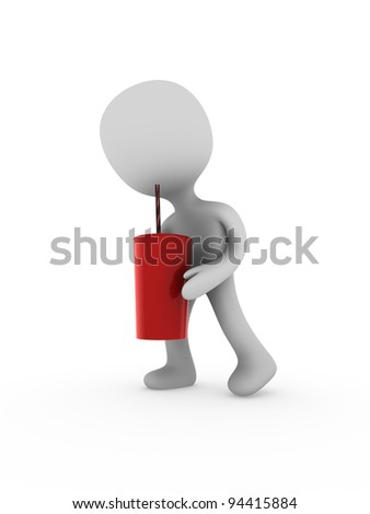 3d person carry paper fast food cup - stock photo