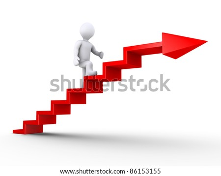 3d person climbing red stairs with arrow - stock photo