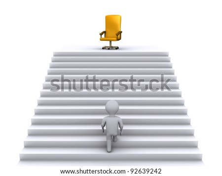 3d person climbing stairs to reach a golden chair - stock photo