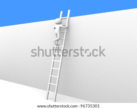 3d person climbing the ladder to sky- 3d render - stock photo
