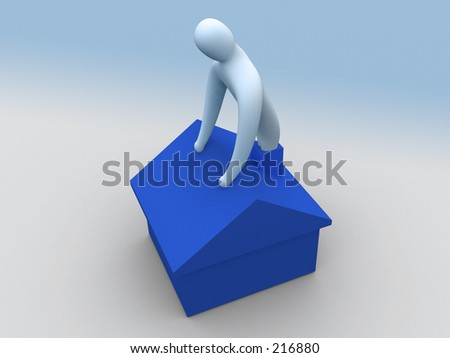 3d person coming out of a chimney. - stock photo