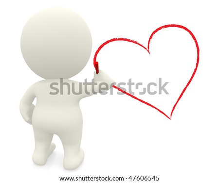 3D person drawing a heart on the wall - isolated over a white background - stock photo