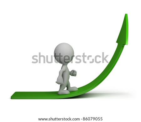 3d person going up on the green arrow. 3d image. Isolated white background.