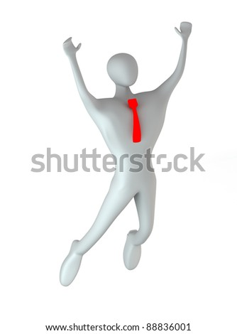 3d person happy jumping - stock photo