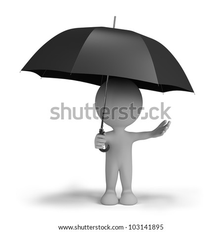 3d person hiding from the rain under an umbrella. 3d image. Isolated white background. - stock photo