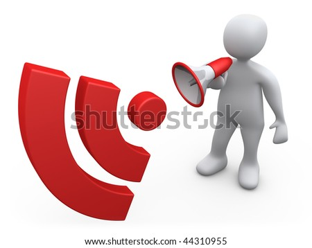 3d person holding a bullhorn making an announcement. - stock photo