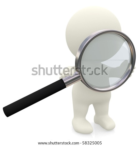 3D person holding a magnifier looking for something - isolated over a white background - stock photo