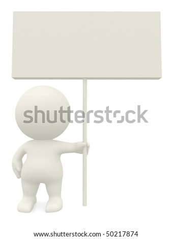 3D person holding a sign isolated over a white background - stock photo