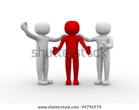 3d person human character - Congratulation - 3d render illustration - stock photo