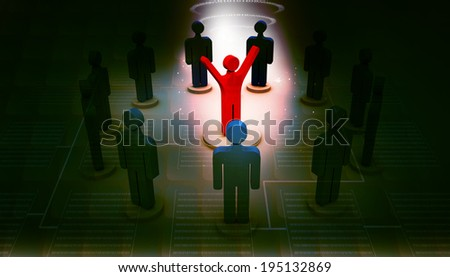 3d person icon leadership and team - stock photo