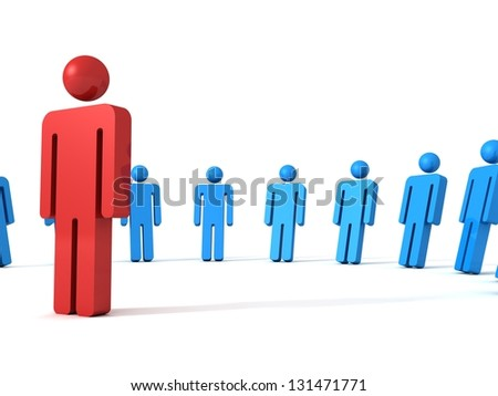 3d person icon leadership and team concept - stock photo
