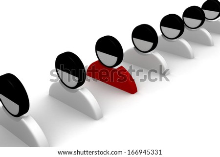 3d person icon leadership and team Isolated on white background. - stock photo