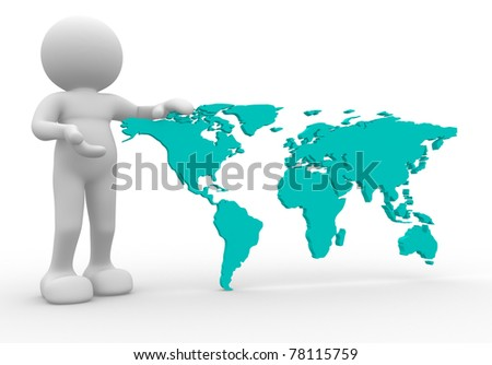 3d person  icon with the world map - This is a 3d render illustration - stock photo