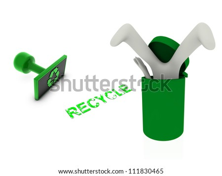 3d person in recycle bin - stock photo
