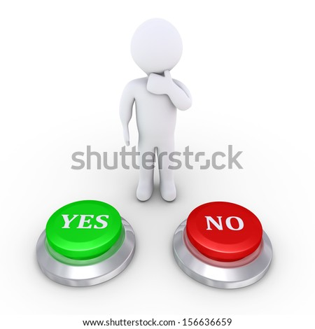 3d person is behind one yes button and one no button - stock photo