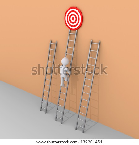 3d person is climbing the ladder that leads to the target - stock photo