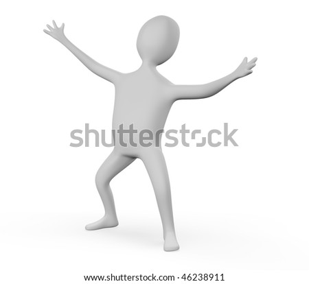 3d person is happy on white background