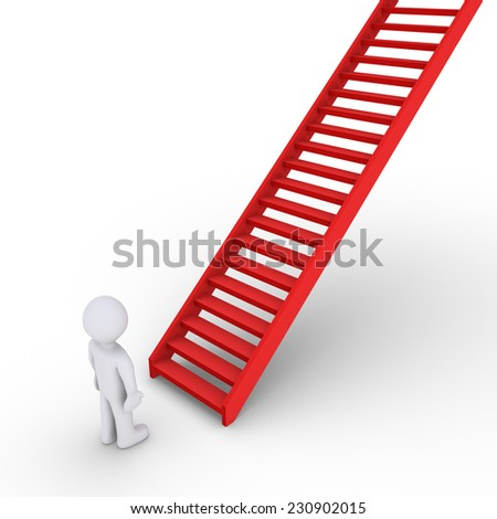 3d person is in front of a rising staircase