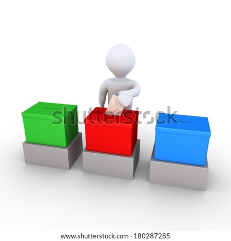 3d person is inserting an envelope to one ballot box out of three - stock photo